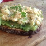 Spring Onion Scrambled Eggs & Avocado on toast