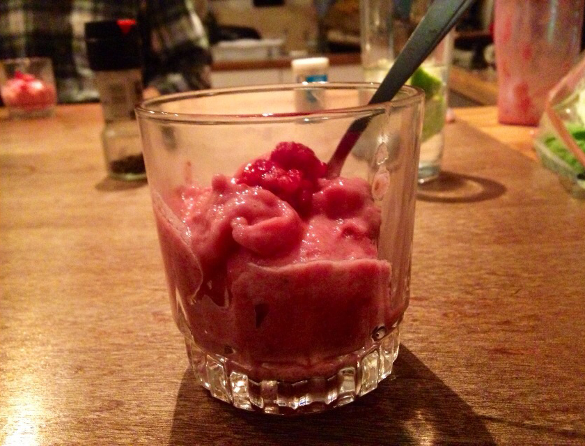 raspberry & banana imitation ice cream