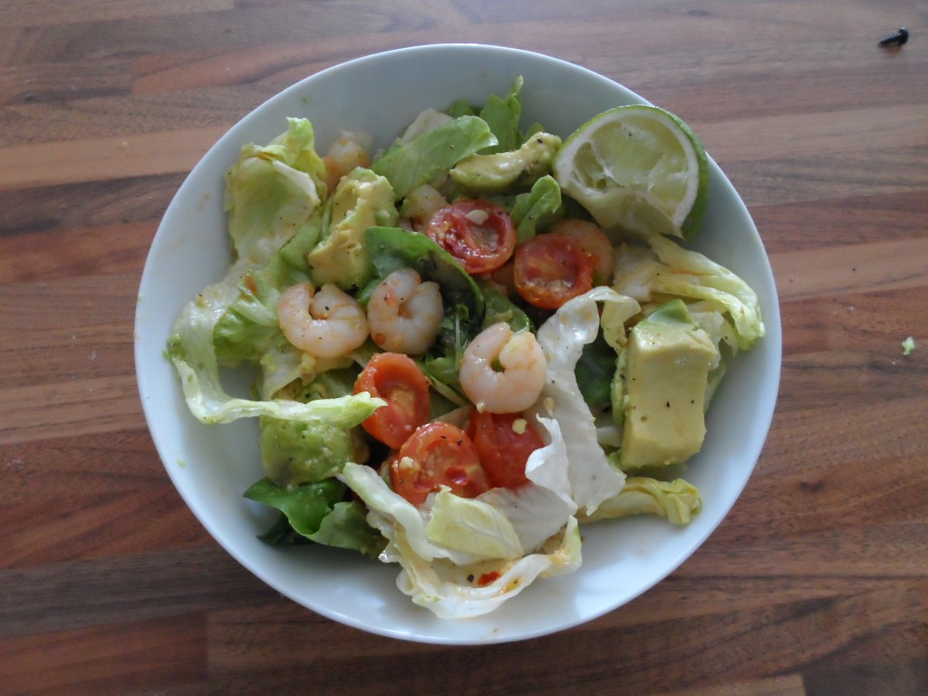 Finished prawn, avocado and chilliSalad