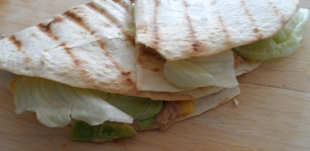 green pepper and Sriracha Tuna mayonnaise quesadilla