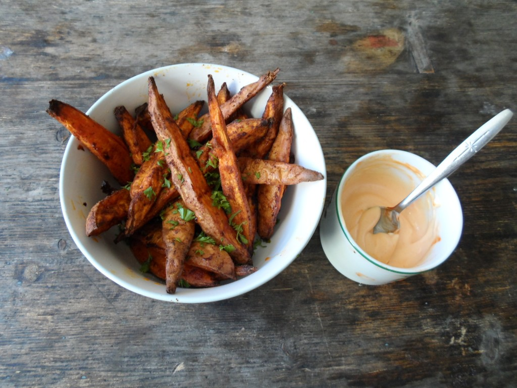 Sweet potato wedges & sriracha mayonnaise