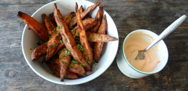 Smoky Sweet  Potato Wedges & Sriracha Mayonnaise